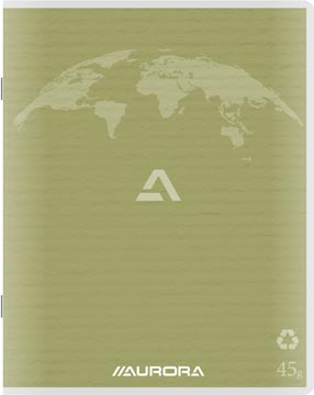 Aurora Writing 45 kladschrift uit gerycleerd papier, 200 bladzijden, gelijnd, mosgroen