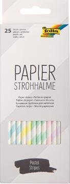 Folia papieren rietjes, ophangbaar doosje van 25 stuks, pastel strepen