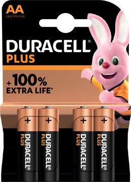 Duracell batterij Plus 100% AA, blister van 4 stuks
