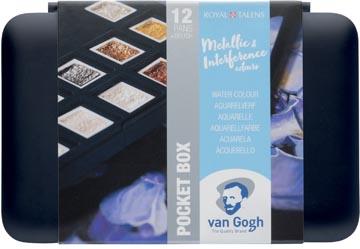 Van Gogh aquarelverf, pocketbox met 12 napjes, metallic- en interference kleuren
