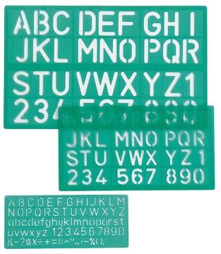 Linex lettersjabloon set met 3 stuks, in een ophangetui