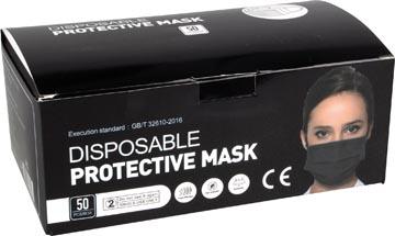 Wegwerp mondmasker, doos van 50 stuks, zwart