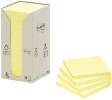 Post-it Notes gerecycleerd, ft 76 x 76 mm, geel, 100 vel, pak van 16 blokken