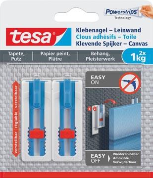 Tesa Klevende Spijker Canvas, draagkracht 1 kg, behang en pleisterwerk, wit, 2 spijkers en 3 strips
