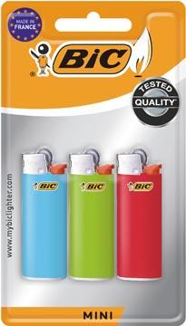 BIC Mini vuursteen aanstekers, geassorteerde kleuren, blister van 3 stuks