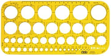 M+R cirkelsjabloon, cirkels 1 tot 36 mm