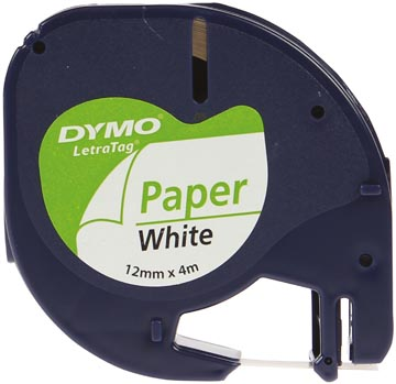 Dymo LetraTAG tape 12 mm, papier wit