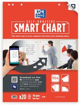 Oxford Smart Chart zelfklevende flipchartblok 60 x 80 cm, pak met 20 vel, blanco