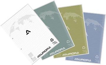 Aurora cursusblok A4 70g geruit 5x5, met marge, 100 vel